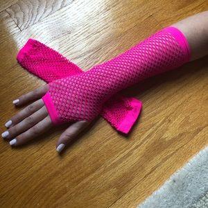 Accessories - Pink Fishnet Gloves